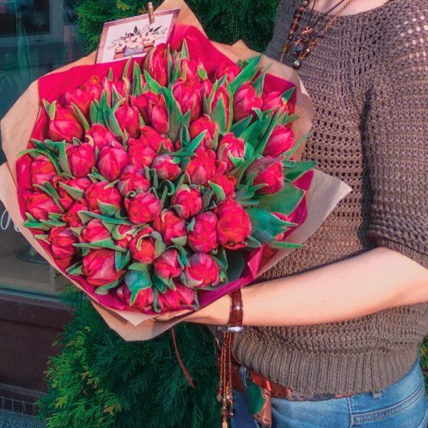 Букеты с пионовидными тюльпанами