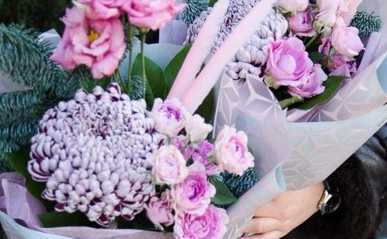 45, хризантема, роза куст, эустома, нобилис